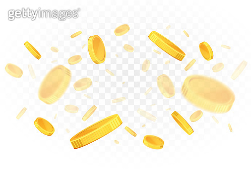 Explosion of falling gold coins on a transparent background.
