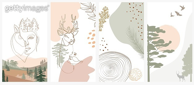 Set of abstract vertical background with forest animals, woman face, plants in one line style and abstract shapes and landscape