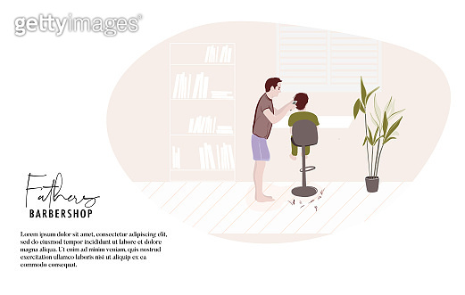 Father making haircut at home, quarantine isolation activity. Modern cartoon flat illustration, people daily life, dad and child spending time together in weekend. Vector