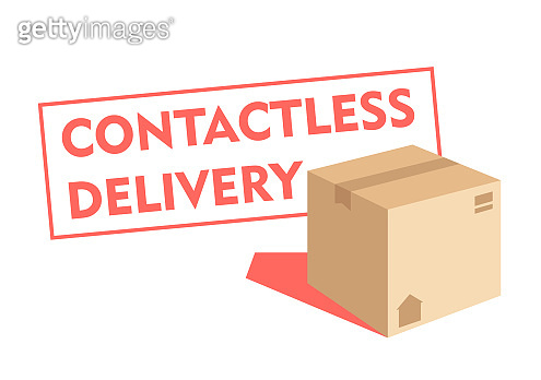 Delivery service. Stamp - Contactless delivery.