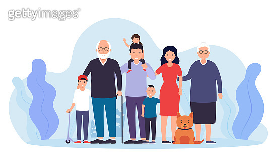 Big happy family together. Father with mother two boys and a girl, grandfather, grandmother and pet.