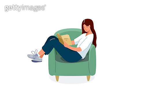 Read book vector illustration. Girl reading books in comfortable pose in green chair. Student female study knowledge. Cute readers, style flat literature with person