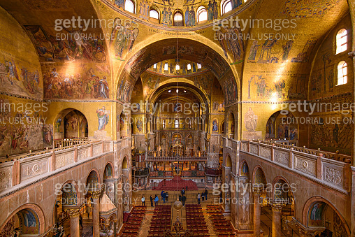 The mosaic decoration art of the interior of St Mark's Basilica, the cathedral church of Venice, Italy