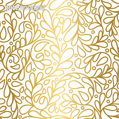 Gold and white leaves seamless pattern. Vintage vector ornament template. Paisley elements. Great for fabric, invitation, background, wallpaper, decoration, packaging or any desired idea.