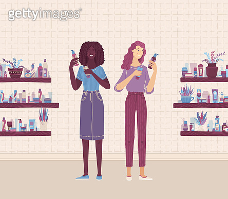 Two female consultants characters comparing skincare beauty products in shop