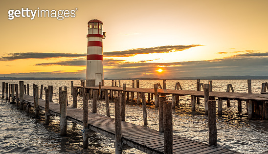 Beautiful Lighthouse in Austria Podersdorf am see during sunset.
