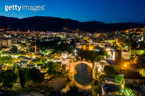 Old town with arch bridge at night, Mostar, Bosnia and Herzegovina