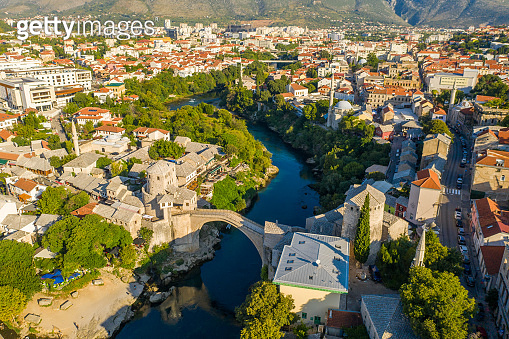 Old town with arch bridge, Mostar, Bosnia and Herzegovina