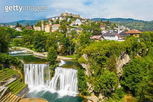 Town and waterfall, Jajce, Bosnia and Herzegovina