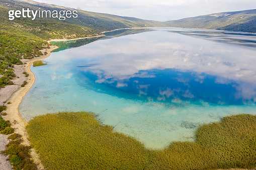 Aerial view of landscape with Vrana lake,  Cres Island,  Croatia