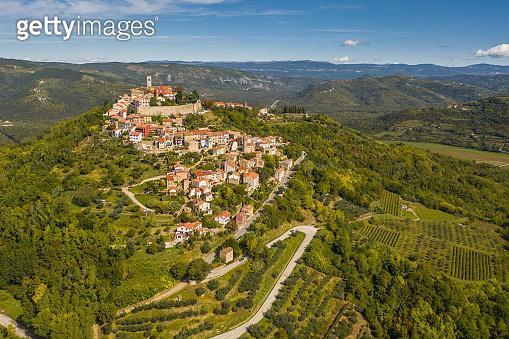 Idyllic hill town of Motovun aerial view, Istria region of Croatia