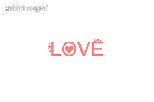 Happy Valentines Day lettering isolated on white background vector illustration. Greeting romantic design. Love symbol tagline.