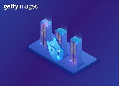Information protection concept with blue neon shield and lock saving data in server, network safety 3d illustration