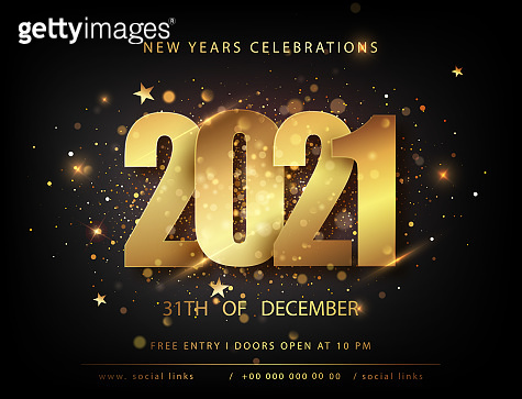 Christmas and new year posters set with 2021 numbers. Winter holiday invitations.