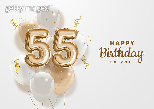 Happy 55th birthday gold foil balloon greeting background.