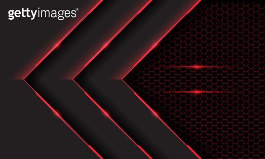 Abstract triple red grey cyber light arrow direction on dark hexagon mesh pattern design modern futuristic technology background vector illustration.