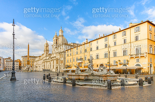 Piazza Navona square in Rome in the morning, Italy.