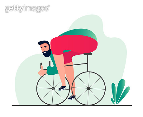 Sporty man on a Bicycle. Modern conceptual illustration of a person riding a Bicycle in sports equipment. Vector symbols of an active lifestyle