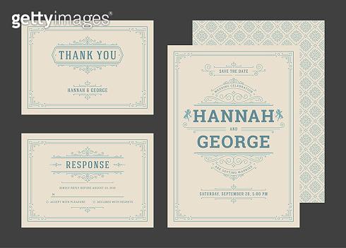 Set wedding invitations flourishes ornaments cards