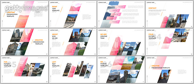 Minimal presentations design, portfolio vector templates with colorful gradient geometric background. Multipurpose template for presentation slide, flyer leaflet, brochure cover, report, advertising.