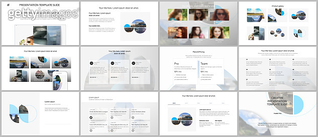 Presentation design vector templates, multipurpose template for presentation slide, flyer, brochure cover design with abstract circle banners. Social media web banner. Social network photo frame.
