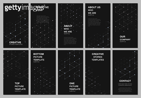 Social networks stories design, vertical banner or flyer templates. Cover design templates for flyer, leaflet, brochure cover, presentation, advertising banner. Abstract molecular connection structure