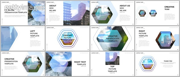Presentation design vector templates, multipurpose template for presentation slide, flyer, brochure cover design, infographic report. Corporate identity business concept background with hexagons.