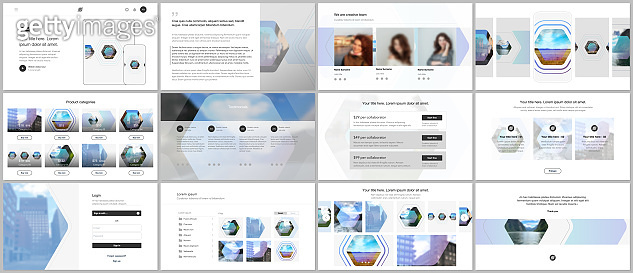 Vector templates for website design, presentations, portfolio. Templates for presentation slides, flyer, leaflet, brochure cover, report. Corporate identity business concept background with hexagons.