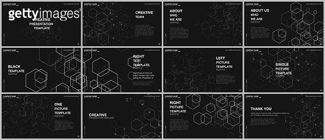 Presentation design vector templates, multipurpose template for presentation slide, flyer, brochure cover design, infographic report. Digital business process automation concept vector infographic.