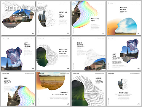 Brochure layout of square format covers design templates for square flyer leaflet, brochure design, report, presentation, magazine cover. Simple minimal design background with geometric curved shapes.
