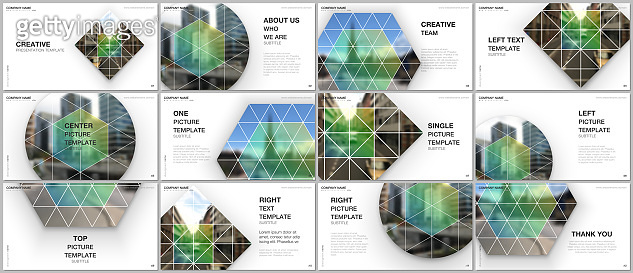 Presentation design vector templates, multipurpose template for presentation slide, flyer, brochure cover design, infographic presentation. Abstract geometric backgrounds with simple triangle shapes.