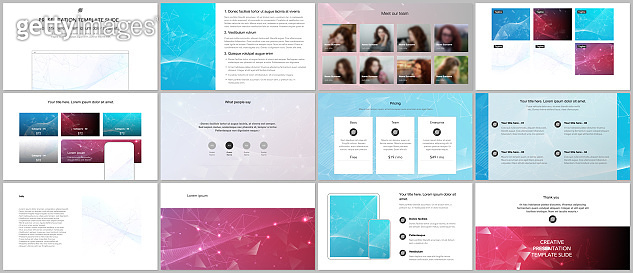 Vector templates for website design, presentations, portfolio. Templates for presentation slides, flyer, leaflet, brochure cover, report. Polygonal science background with connecting dots and lines.