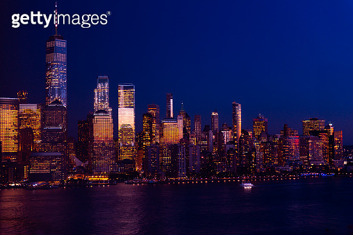 New York City skyline and Downtown Manhattan from Jersey City during night