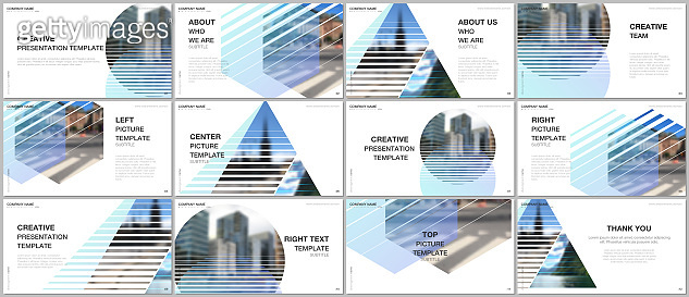 Presentation design vector templates, multipurpose template for presentation slide, flyer, brochure cover design, infographic presentation. Abstract geometric backgrounds with simple modern forms.