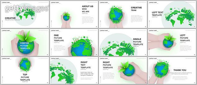 Presentation design vector templates, multipurpose template for presentation slide, flyer, brochure cover design, infographic. Green world globe in the hands of man. Earth planet health care concept.