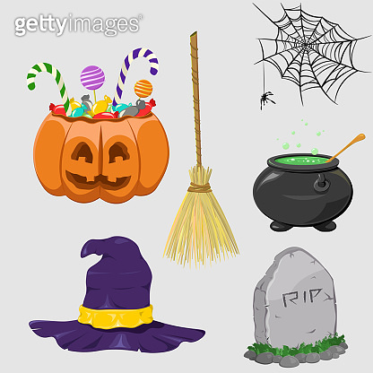 Halloween cute elements. Pumpkin, spider, witch hat, lettering and cartoons for Halloween, candies, candals, rip. Spooky elements for the holiday. Vector illustration