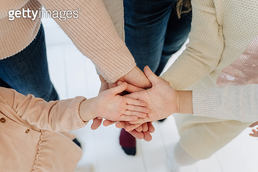People Hold Hands Palm Up Together Unity Concept