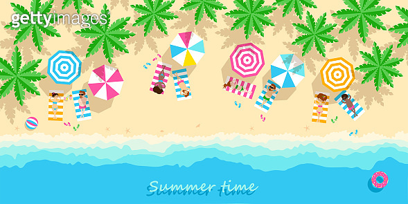 people relax on beach  with palm trees.  Horizontal banner in cartoon style. Inscription Summer time, place for your text. Vector illustration