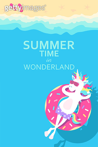 Summertime.  Unicorn relaxing on inflatable donut. Vector illustration