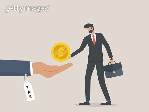 collecting income tax and annual investment, Businessman pay taxes.