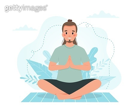 Man practicing yoga. Vector illustration in flat style