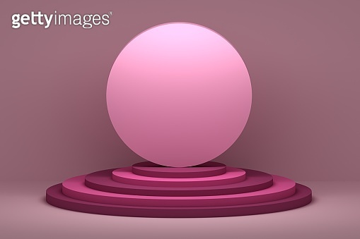 Round circular presentation shape on pedestals in pink colors
