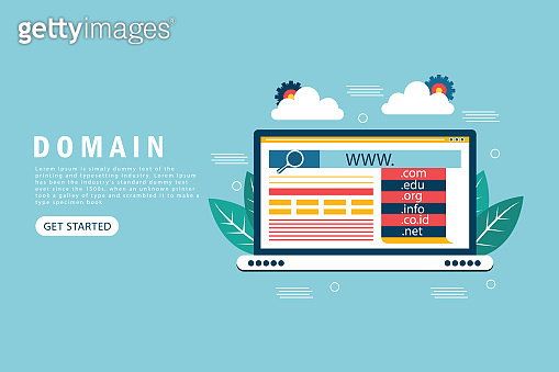 Domain landing page template. Flat design concept of web page design for website