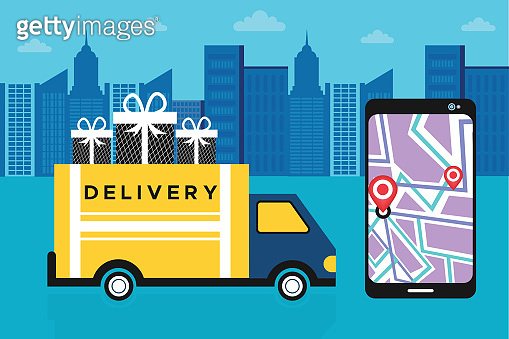 Delivery van and mobile phone with map on city background