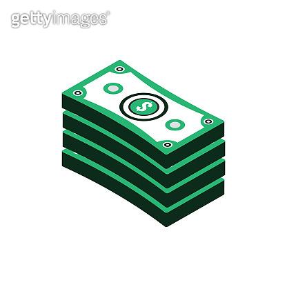 Isometric icon of pile of money