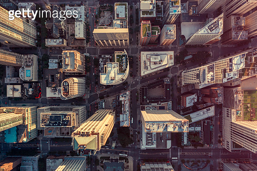 Overhead aerial view of Chicago Downtown skyscrapers. Urban grid with streets