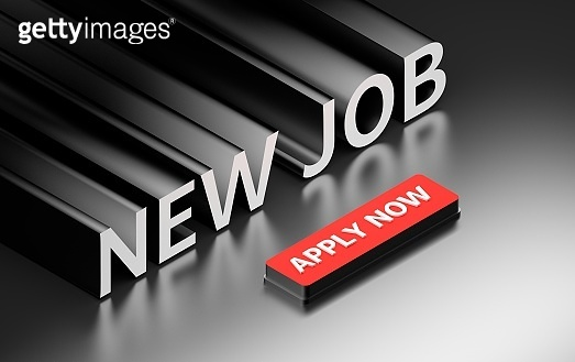 Job search illustration with red button and words apply now