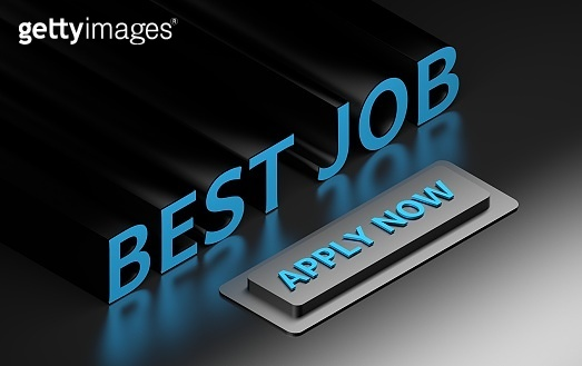 Geometric arrangement of large bold words - best job - with large push button with words apply now