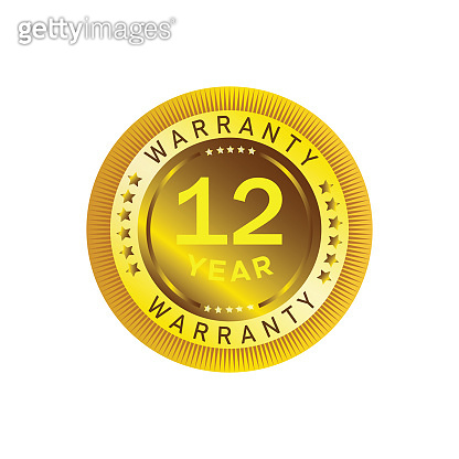 12 year warranty circle button with stars