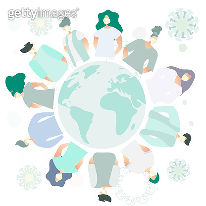 Group of people in circle around the globe.